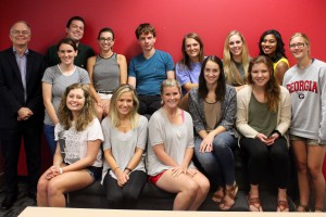 Front row (L-R): Lauren McDonald, Leah Griffin, Lauren Herbert; middle row: Keith Herndon, visiting Grady professor and program coordinator; Grayson Passmore, Grace Donnelly, Kendall Little, Lindsey Conway; back row: Daniel Funke, Kinsey Lee Clark, David Kamayor, Alison Menhart, Macey Kessler, Kendall Trammell