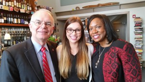 Kinsey Clark, the Cox Institute's Fall 2015 Innovation Fellow, celebrated the Grady Convocation with Dr. Keith Herndon, Cox Institute faculty, and convocation speaker, Carole Munroe, a Grady alum and Disney public relations executive. Clark headed to the Magic Kingdom in Orlando following graduation to begin a six-month professional communications internship.