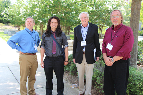 (l-r) Frank LoMonte, executive director of the Student Press Law Center; Jonathan Capriel, winner of the 2014-15 Holland Award; Kent Middleton, director of the Cox Institute; and Cecil Bentley, assistant director of the Cox Institute.