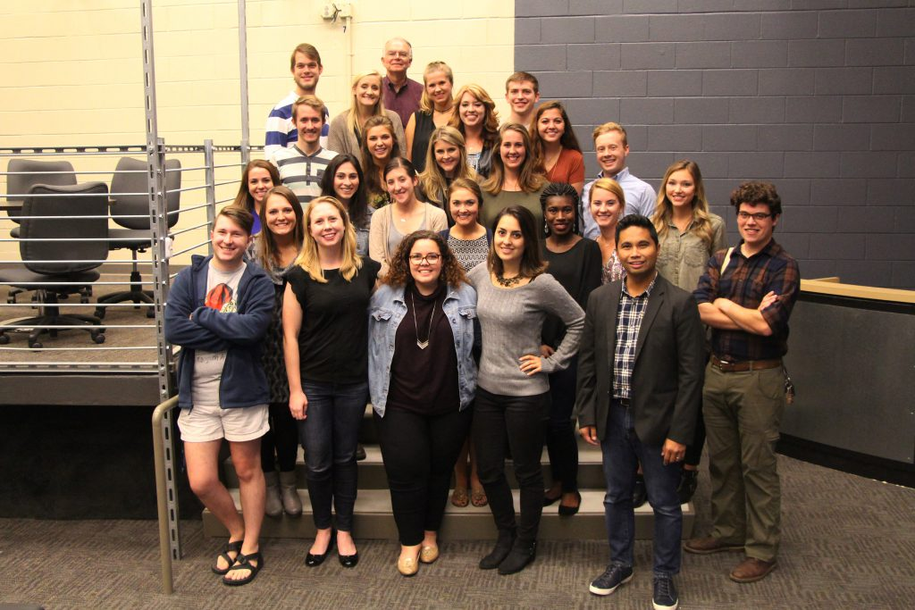 Grady Mobile News Lab Fall 2016: Industry Coaches: Andrew Plaskowsky, Alison Menhart, Melanie Stolte, Ana Santos, Alex Sembra (Rodney Thrash is not pictured); MNL students: Emily Boyer, Lauren Sloan, Michelle Baruchman, McKenzie Lewis, Denver Ellison, Martha Michael, Macie Banks, Henry Taylor, Nick Seymour, Annie Jorgensen, Lauren Herbert, Mary Carol Butterfield, Dillon Richards, Alex Vanden Heuvel, Taylor Cromwell, Keith Herndon (Cox Institute Director), Kaitlyn Yarborough, Noelle Lashley, William Robinson and Reann Huber (Lia Jordan is not pictured).
