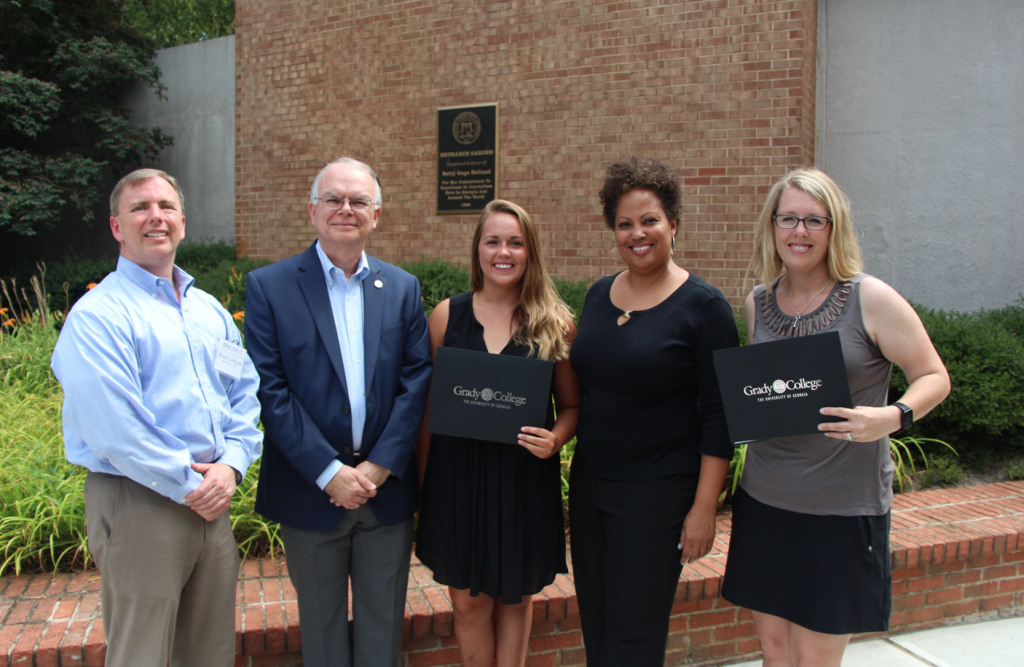 (l.-rt.) Frank LoMonte, executive director of the Student Press Law Center; Keith Herndon, director of the Cox Institute; Nicole Ares, 2017 Holland Award winner; Nsenga Burton, digital editor of Grady Newsource and Holland Award juror; Carrie Pratt, College Heights Herald adviser